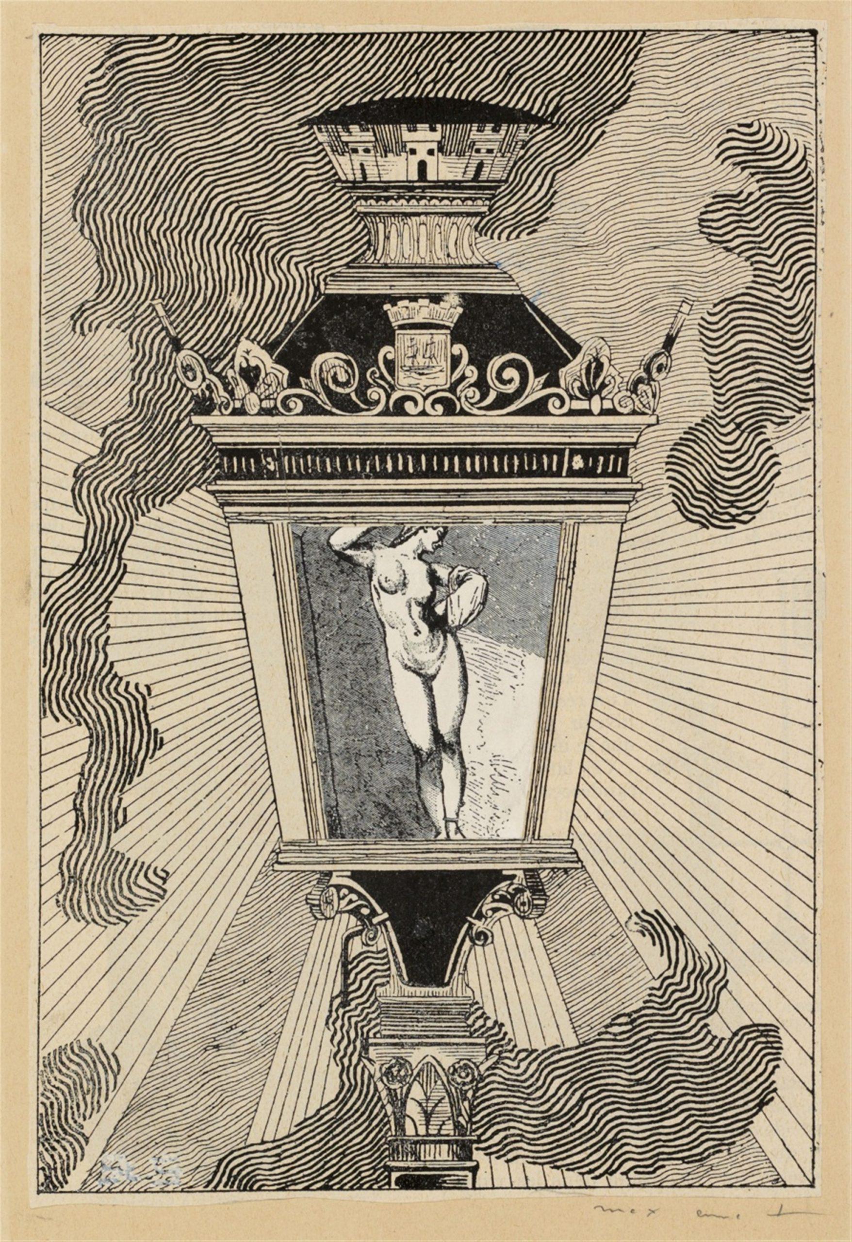 Max Ernst Brühl 1891 - 1976 Paris La Ballade du Soldat (Dans les ténèbres) 1971 Collage of two imprinted papers, mounted on card.